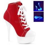 Rot Neon 15 cm DELIGHT-600SK-02 Leinenstoff high heels chucks