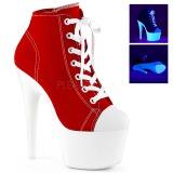 Rot Neon 18 cm ADORE-700SK-02 Leinenstoff high heels chucks