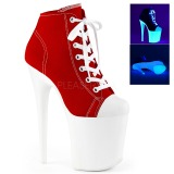 Rot Neon 20 cm FLAMINGO-800SK-02 Leinenstoff high heels chucks