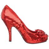 Rot Pailletten 11,5 cm OZ-06 Hohe Pumps Abend Schuhe mit Absatz