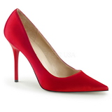 Rot Satin 10 cm CLASSIQUE-20 Damen Pumps Stiletto Absatz