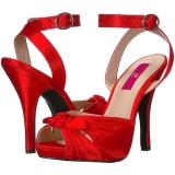 Rot Satin 12,5 cm EVE-01 grosse grössen sandaletten damen