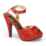 Rot Satin 12 cm PINUP COUTURE BETTIE-04 Plateau High Heels