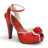 Rot Satin 12 cm PINUP retro vintage BETTIE-06 Plateau High Heels