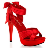 Rot Satin 13 cm COCKTAIL-568 Sandaletten mit hohen Absätzen