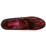 Rot Satin 14,5 cm Burlesque TEEZE-07L Plateau Pumps Schuhe