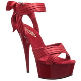 Rot Satin 15 cm DELIGHT-668 Hohe Abend Sandaletten mit Absatz