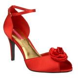 Rot Satin 9,5 cm ROSA-02 High Heel Sandaletten Damen