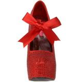 Rot Strass 14,5 cm Burlesque TEEZE-04R Plateau Damen Pumps Schuhe