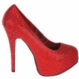 Rot Strass 14,5 cm Burlesque TEEZE-06R Plateau Damen Pumps Schuhe