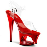 Rot Transparent 18 cm MOON-708DMCH Plateau High Heels