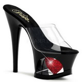 Rot Transparent 18 cm Pleaser MOON-701HRS Plateau High Mules