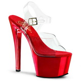 Rot Transparent 18 cm SKY-308 Plateau High Heels