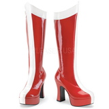 Rot Weiss 11 cm Funtasma EXOTICA-305 Plateau Stiefel Damen