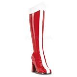 Rot Weiss 8 cm GOGO-305 Kniehoche Damen Stiefel