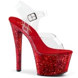 Rot glitter 18 cm Pleaser SKY-308LG pole dance high heels schuhe