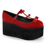 Rot leinenstoff 8 cm CLICK-08 lolita schuhe gothic plateauschuhe