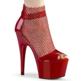 Rote high heels 18 cm ADORE-765RM glitter plateau high heels