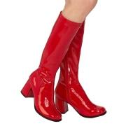 Rote lackstiefel blockabsatz 7,5 cm - 70er jahre hippie disco kniehohe boots gogo