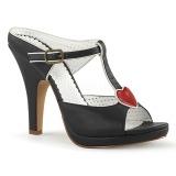 Schwarz 10 cm retro vintage SIREN-09 Damen Mules Schuhe
