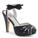 Schwarz 11,5 cm Pinup BETTIE-01 Sandaletten mit high heels