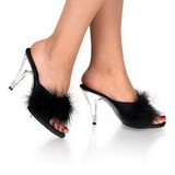 Schwarz 11 cm Pleaser CARESS-401F Mules Schuhe mit Marabou Federn - Plüsch