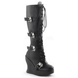 Schwarz 13 cm BRAVO-109 Damen Wedge Stiefel Keilabsatz