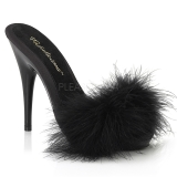 Schwarz 13 cm POISE-501F Mules Schuhe mit Marabou Federn - Plüsch