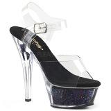 Schwarz 15 cm KISS-208GF glitter plateau sandaletten