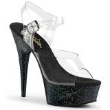 Schwarz 15 cm Pleaser DELIGHT-608MG glitter high heels schuhe