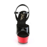 Schwarz 15 cm Pleaser KISS-209 Rot Plateau High Heels