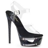 Schwarz 16,5 cm ECLIPSE-608GT Sandaletten mit stiletto absatz