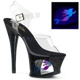 Schwarz 18 cm MOON-708MER Neon plateau high heels