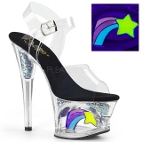 Schwarz 18 cm MOON-708RSS Neon plateau high heels