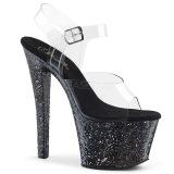 Schwarz 18 cm SKY-308LG glitter plateau high heels