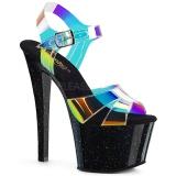 Schwarz 18 cm SKY-320MMR glitter plateau high heels