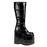 Schwarz 18 cm STACK-301 vinylleder demonia stiefel - unisex cyberpunk stiefel