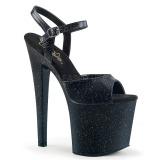 Schwarz 19 cm TABOO-709MMG glitter plateau high heels
