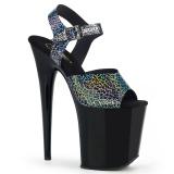 Schwarz 20 cm FLAMINGO-808N-CK Hologramm plateau high heels