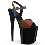 Schwarz 20 cm FLAMINGO-809RBDT Hologramm plateau high heels