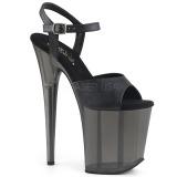 Schwarz 20 cm FLAMINGO-809T Acryl plateau high heels