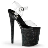 Schwarz 20 cm Pleaser FLAMINGO-808MG glitter high heels schuhe