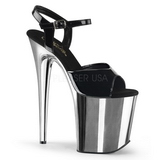 Schwarz 20 cm Pleaser FLAMINGO-809 Chrome Plateau High Heels