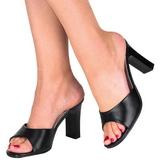 Schwarz 8,5 cm ROMANCE-301-2 Mules Damen Schuhe für Herren