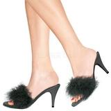 Schwarz 8 cm AMOUR-03 Mules Schuhe mit Marabou Federn - Plüsch