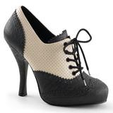 Schwarz Beige 11,5 cm retro vintage CUTIEPIE-14 Damen Oxford Pumps Schuhe Flach