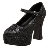 Schwarz Glitter 11 cm MARYJANE-50G Plateau Pumps Mary Jane