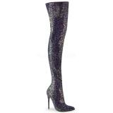 Schwarz Glitter 13 cm COURTLY-3015 Pleaser Overknee Stiefel