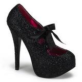 Schwarz Glitter 14,5 cm Burlesque TEEZE-10G Platform Pumps Schuhe