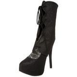 Schwarz Glitter 14,5 cm Burlesque TEEZE-31G Platform Pumps Schuhe